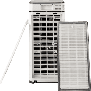 Medify MA-40 Air Purifier back with cover open and filter set