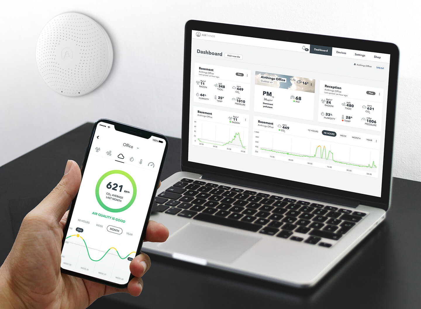 Airthings App and Online Dashboard